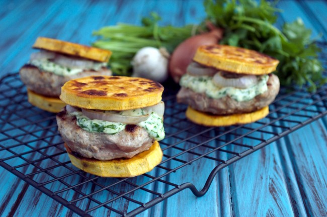 Turkey Sliders with Cilantro-Garlic Aioli