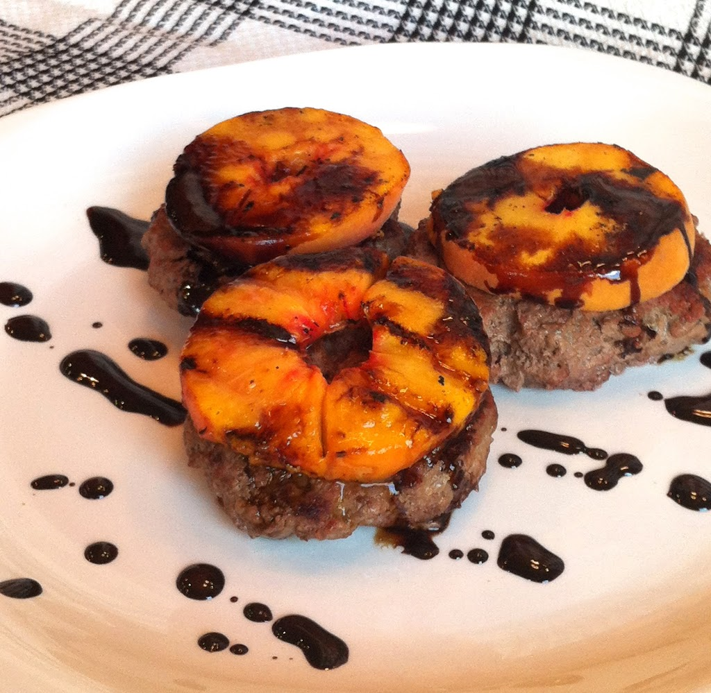 Paleo Grilled Peach Burgers with Balsamic Syrup