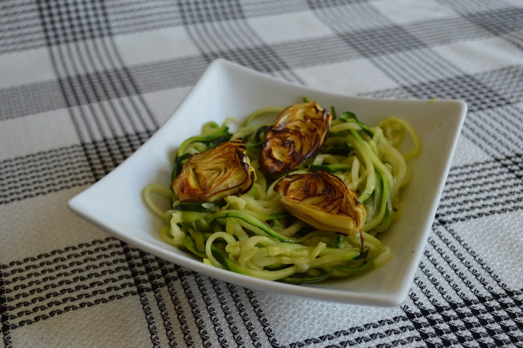 Roasted Artichokes on Zucchini Noodles with Lemon Garlic Sauce