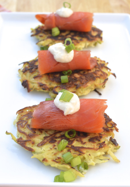 Parsnip-Apple Latkes with Smoked Salmon | Plaid and Paleo