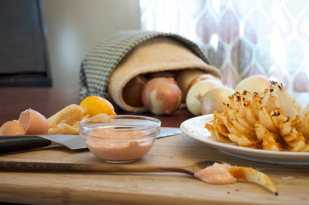 Paleo Bloomin' Onion with Spicy Dipping Sauce