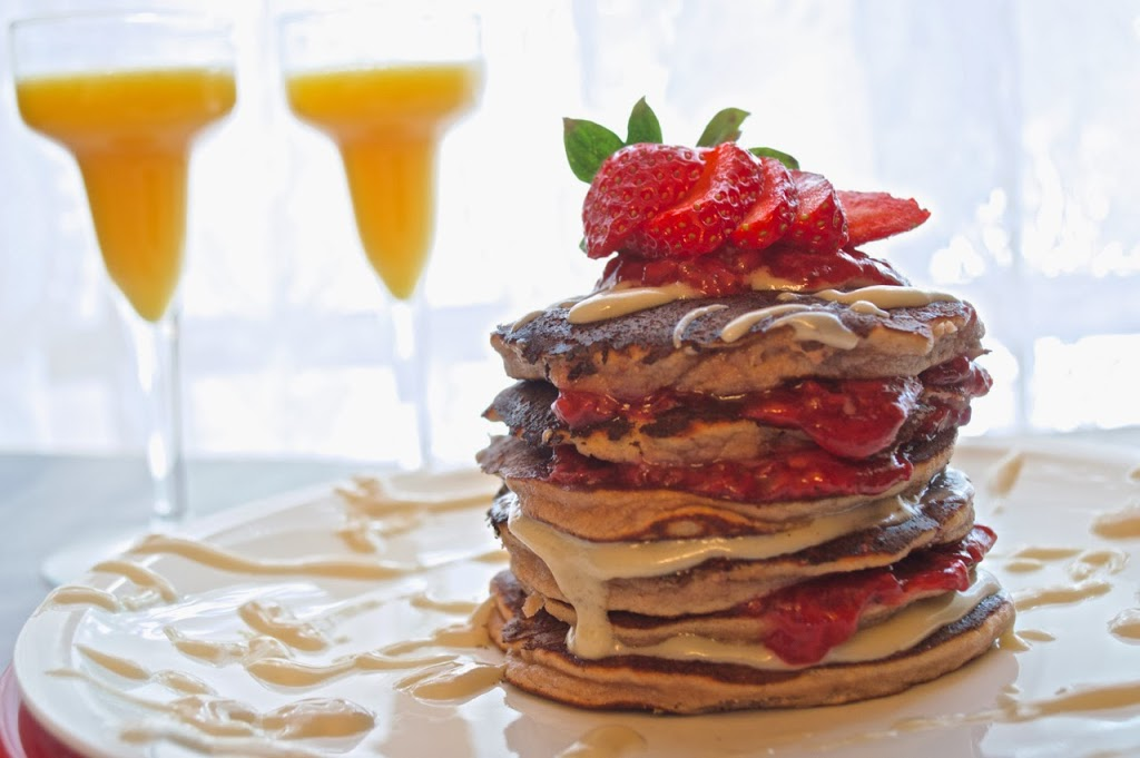 Strawberry Cream Cheese Pancake Stack | Plaid and Paleo