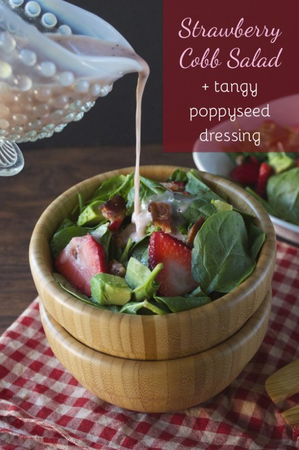 Strawberry Cobb Salad + Tangy Poppyseed Dressing | Plaid & Paleo