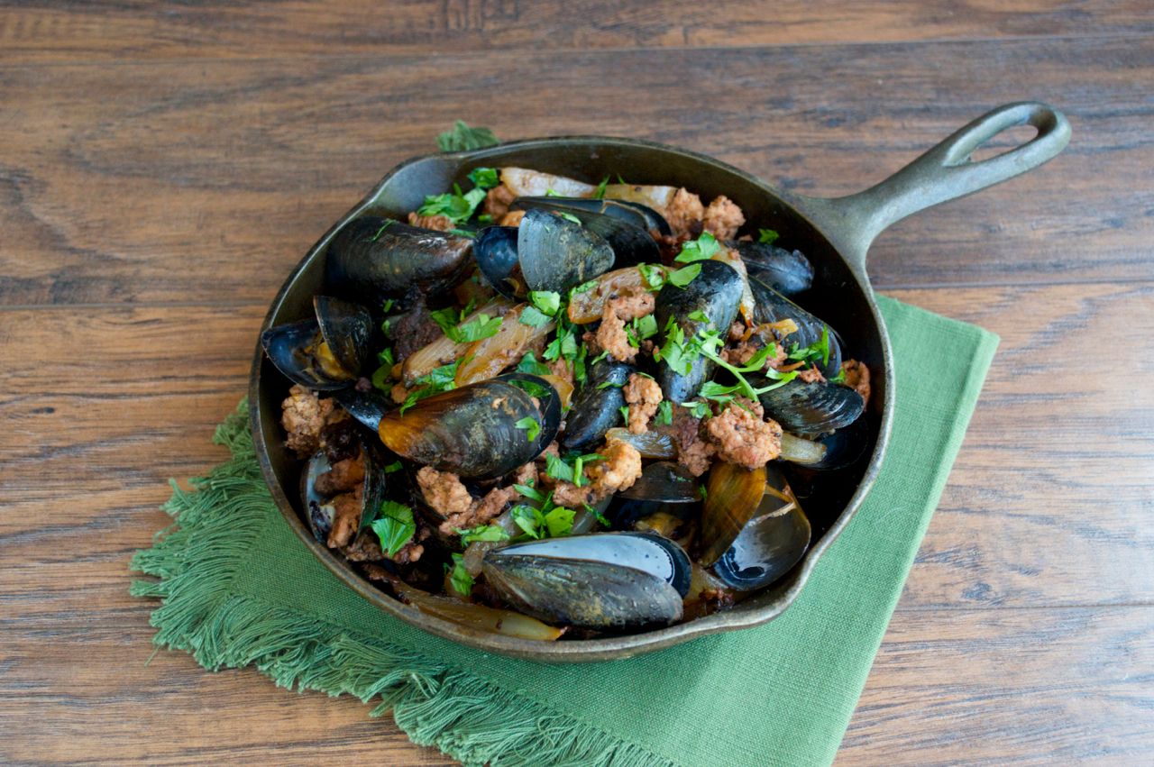 Chorizo and Caramelized Onion Mussels