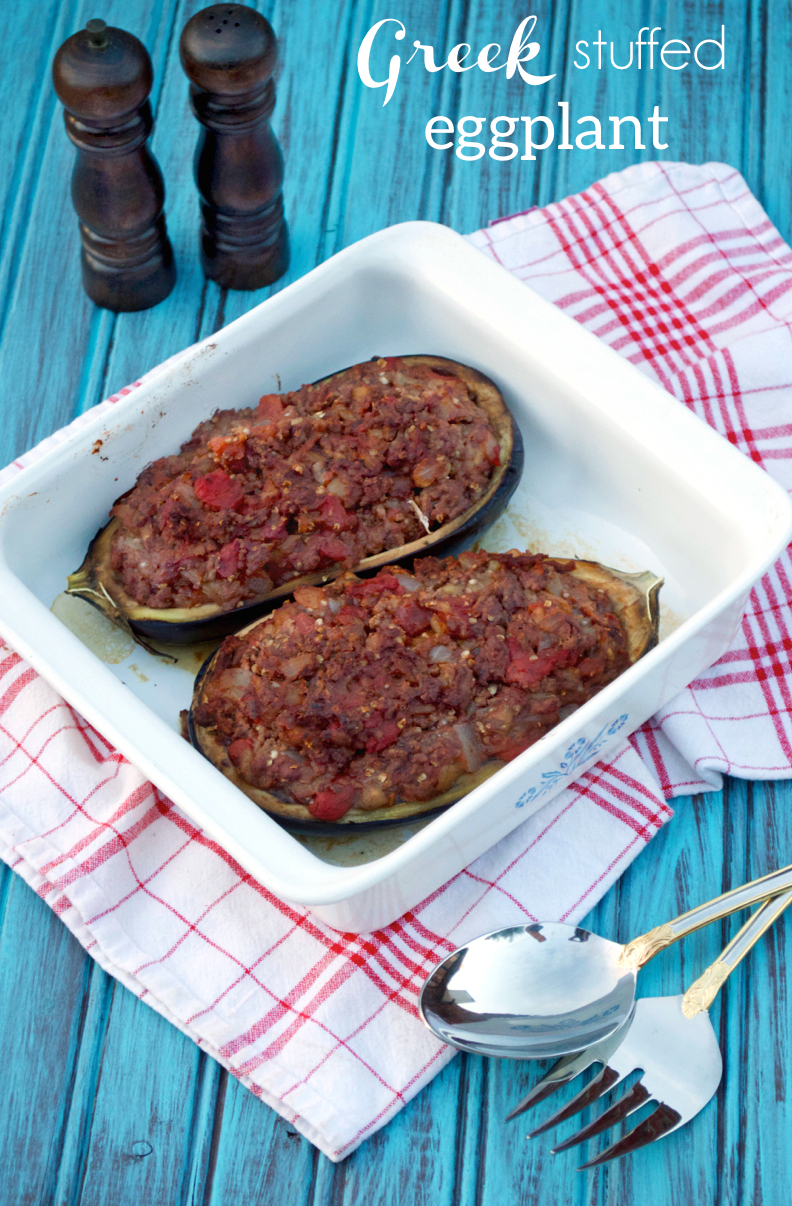Greek Stuffed Eggplant | Plaid and Paleo