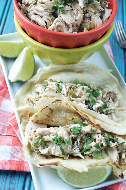 Crockpot Hatch Chile Chicken Tacos | Plaid and Paleo