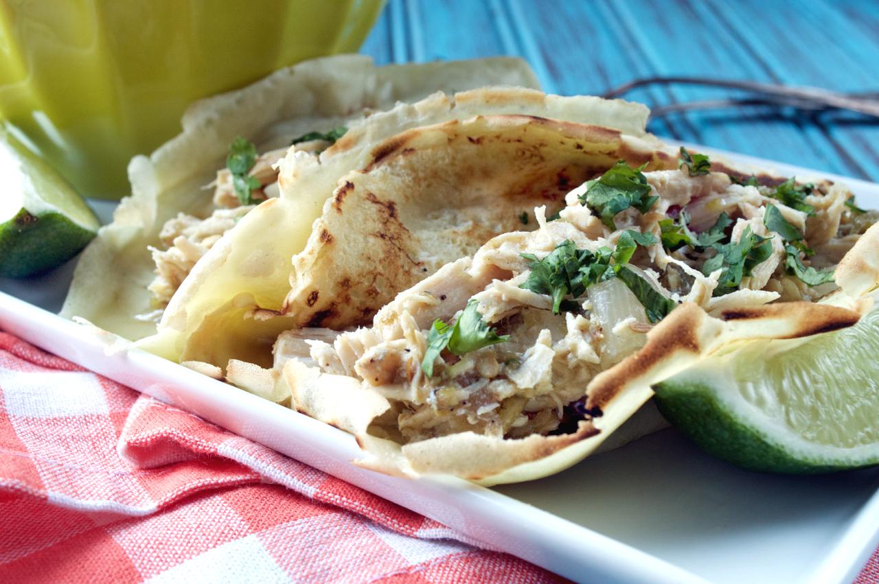 Crockpot Hatch Chile Chicken Tacos