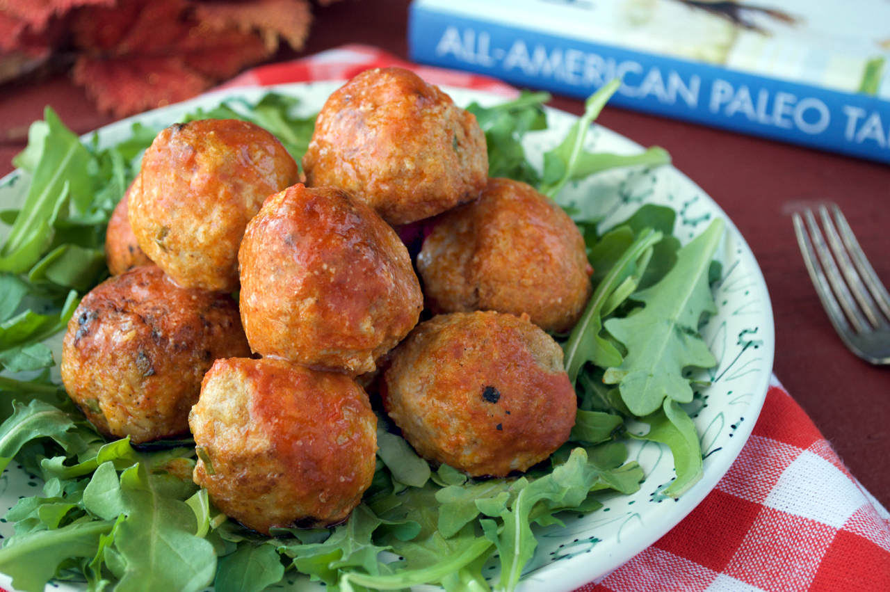 Paleo Buffalo Chicken Meatballs from All-American Paleo Table | Plaid and Paleo