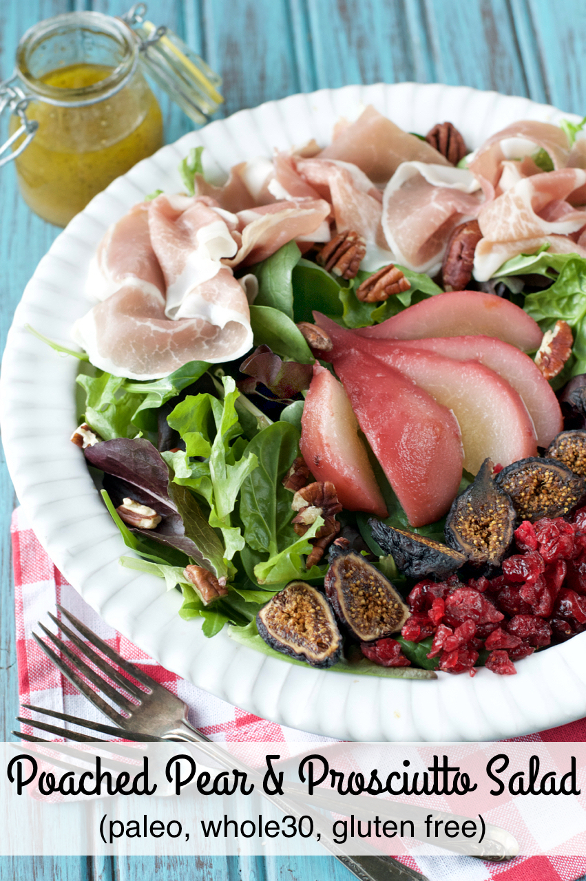 Poached Pear and Prosciutto Salad | Plaid and Paleo