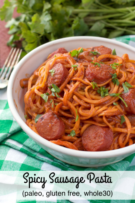 Paleo Spicy Sausage Pasta by Plaid and Paleo