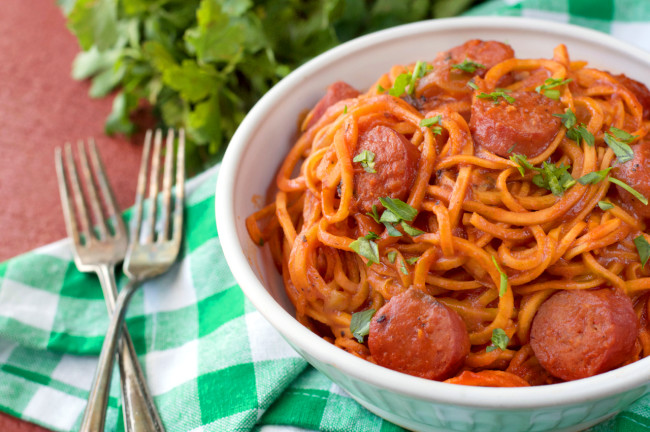 Paleo Spicy Sausage Pasta by Plaid and Paleo.