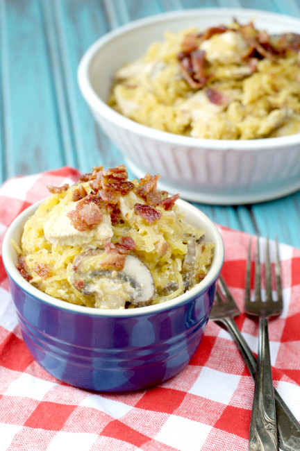 Paleo Bacon Chicken Pasta | Plaid and Paleo