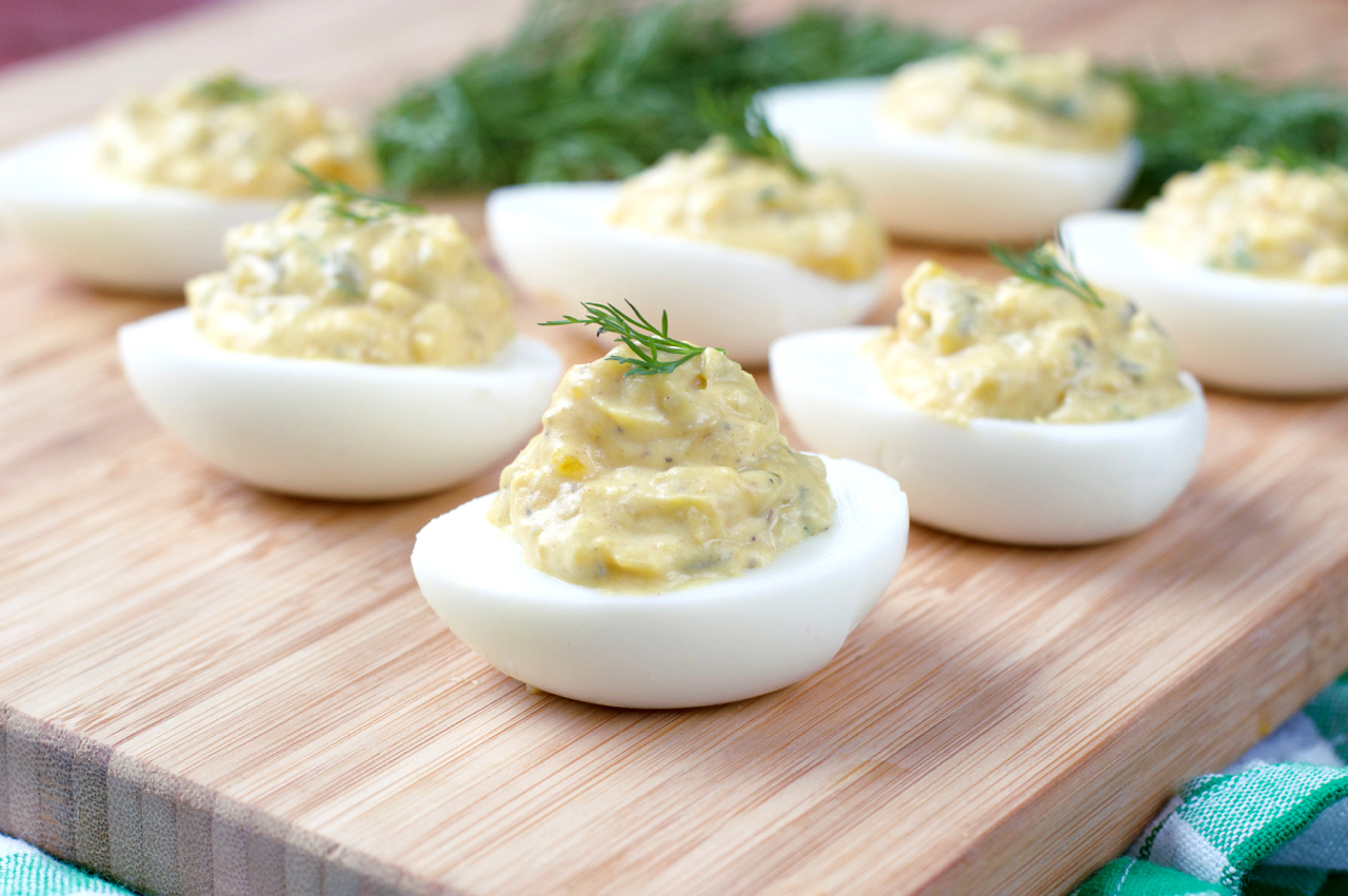 Paleo Dill Pickle Deviled Eggs | Plaid and Paleo