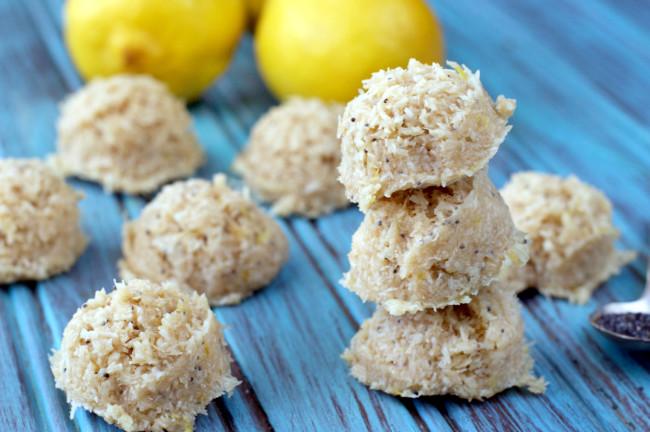 Vegan, Paleo Lemon Poppyseed No Bakes | Plaid and Paleo