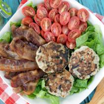 Paleo Bacon Ranch Burger Salad with Avocado Ranch Dressing | Plaid and Paleo