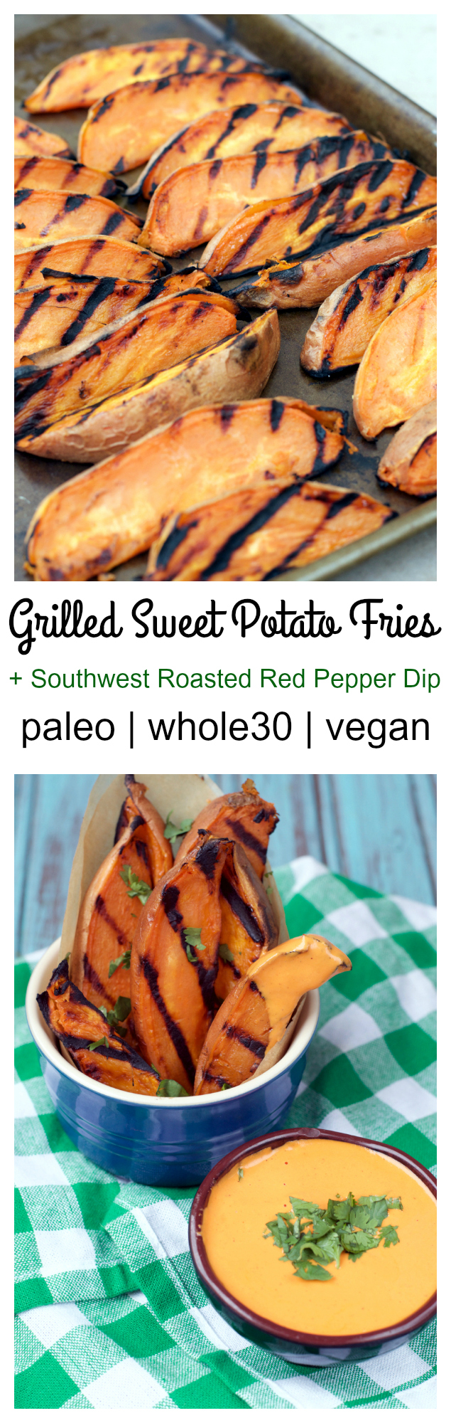 Grilled Sweet Potato Wedges with Southwest Roasted Red Pepper Dip | Plaid and Paleo