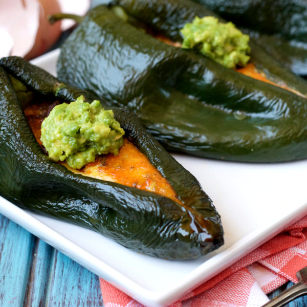Paleo Breakfast Stuffed Poblano Peppers | Plaid and Paleo