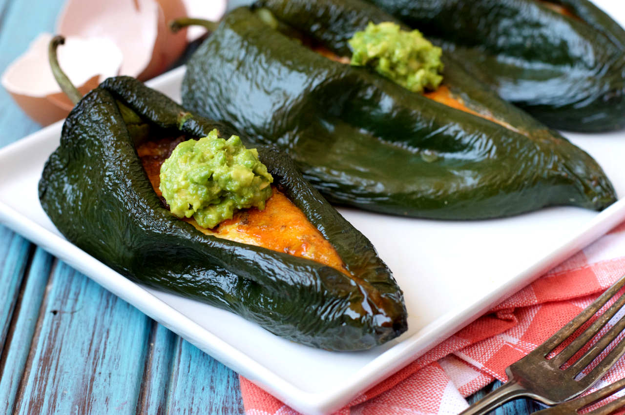 Paleo Breakfast Stuffed Poblano Peppers Plaid And