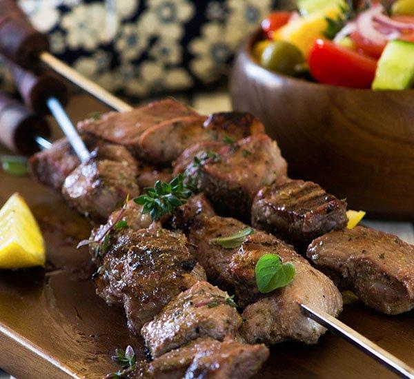 30+ Paleo Kabobs | Lamb Souvlaki with Dairy-free Greek Salad