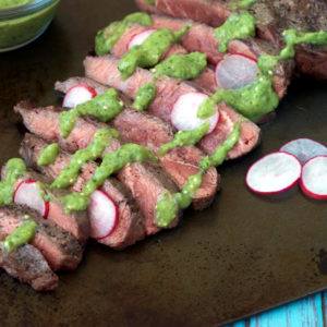 Flat Iron Steak with Creamy Salsa Verde