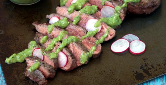 Flat Iron Steak with Creamy Salsa Verde