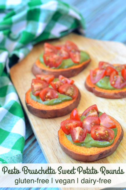 Gluten-free Pesto Bruschetta Sweet Potato Rounds | Plaid and Paloe
