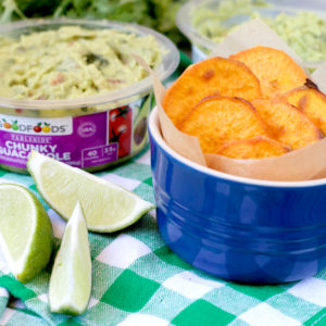 Gameday Guacamole with Sweet Potato Chips | Plaid and Paleo