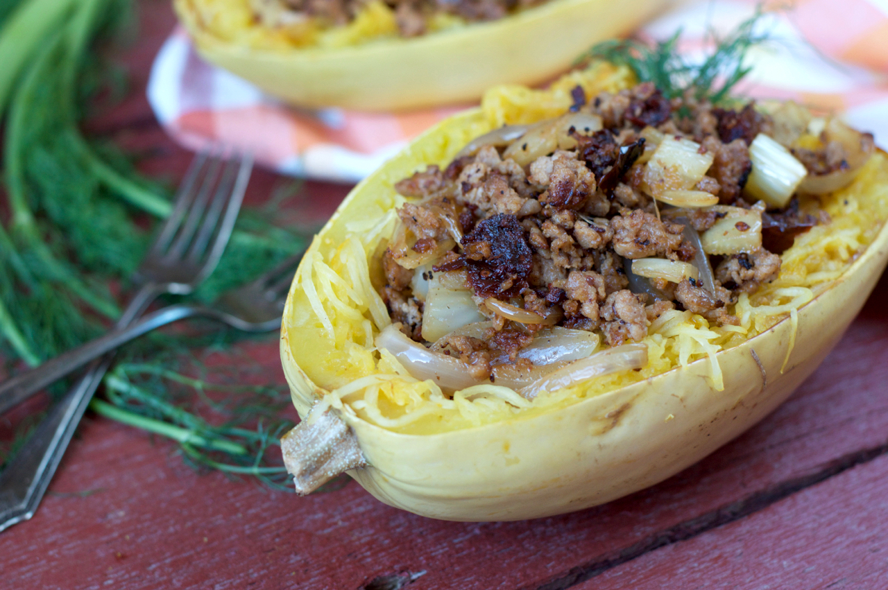 Sausage and Fennel Spaghetti Squash Pasta | Plaid and Paleo