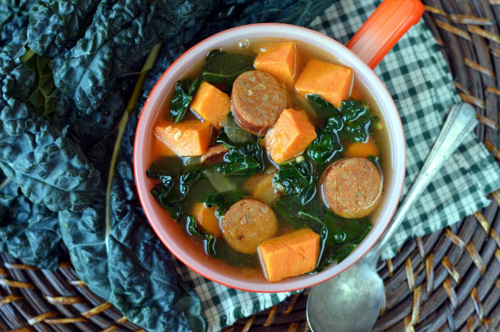 Paleo Cajun Sausage, Sweet Potato and Kale Soup | Plaid and Paleo
