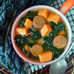 Cajun Sausage, Sweet Potato and Kale Soup