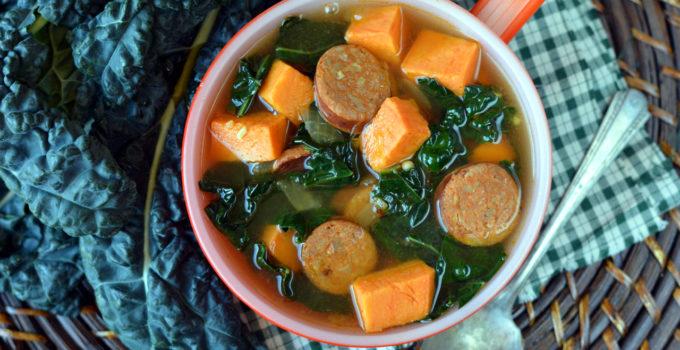 Cajun Sausage, Sweet Potato and Kale Soup