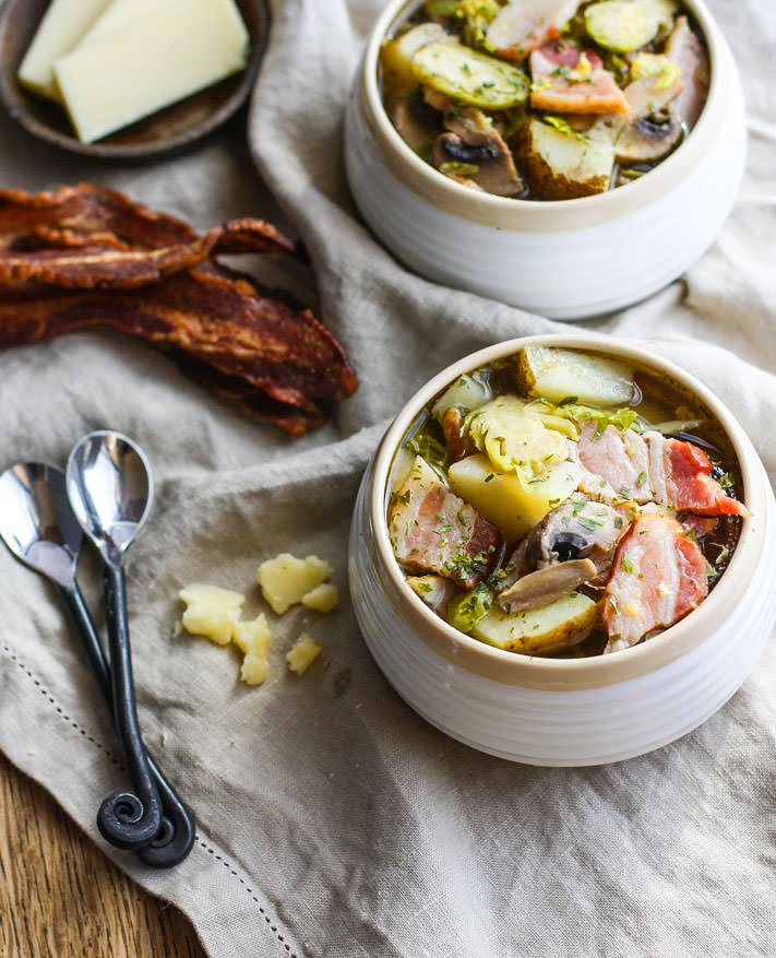 50+ Whole30 Slow Cooker Dinner Recipes - Smokey Bacon & Veggie Soup | Plaid & Paleo