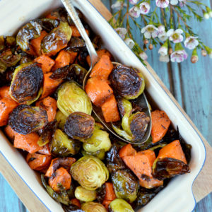 Paleo Honey-Sriracha Sweet Potatoes and Brussels Sprouts | Plaid and Paleo