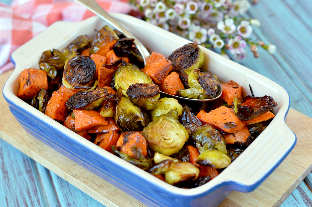 Paleo Honey-Sriracha Sweet Potatoes and Brussels Sprouts | Plaid and ...