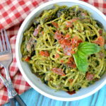 Paleo Creamy Pesto Pasta | Plaid and Paleo