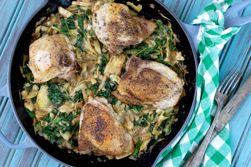 Paleo Spinach and Artichoke Skillet Chicken | Plaid and Paleo