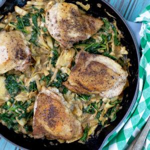 Paleo Spinach and Artichoke Skillet Chicken