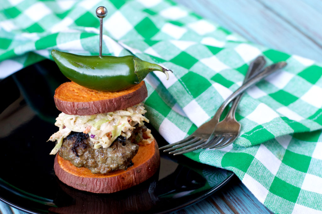 Paleo Jalapeño Ranch Burgers with Spicy Slaw | Plaid and Paleo