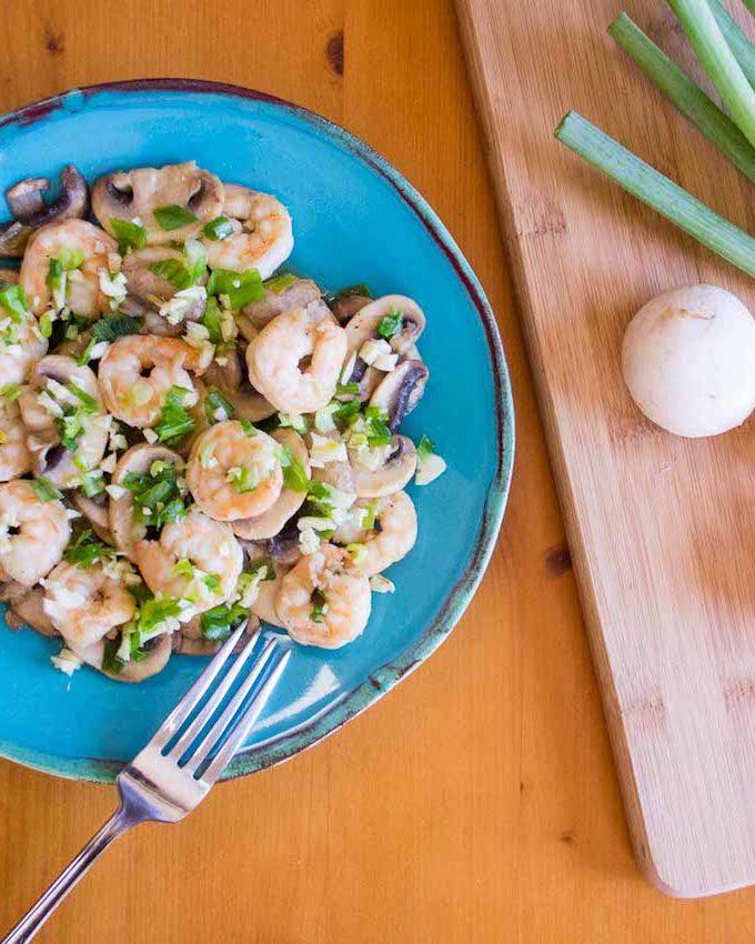 Keto Asian Shrimp and Mushroom Stir-fry | Plaid and Paleo