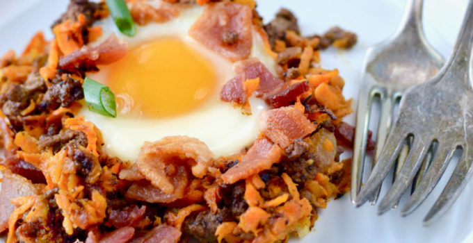 Paleo Bacon Burger Breakfast Hash