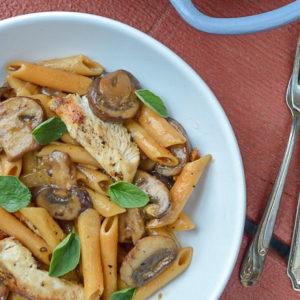 Gluten-Free Chicken Marsala Pasta with Modern Table | Plaid & Paleo